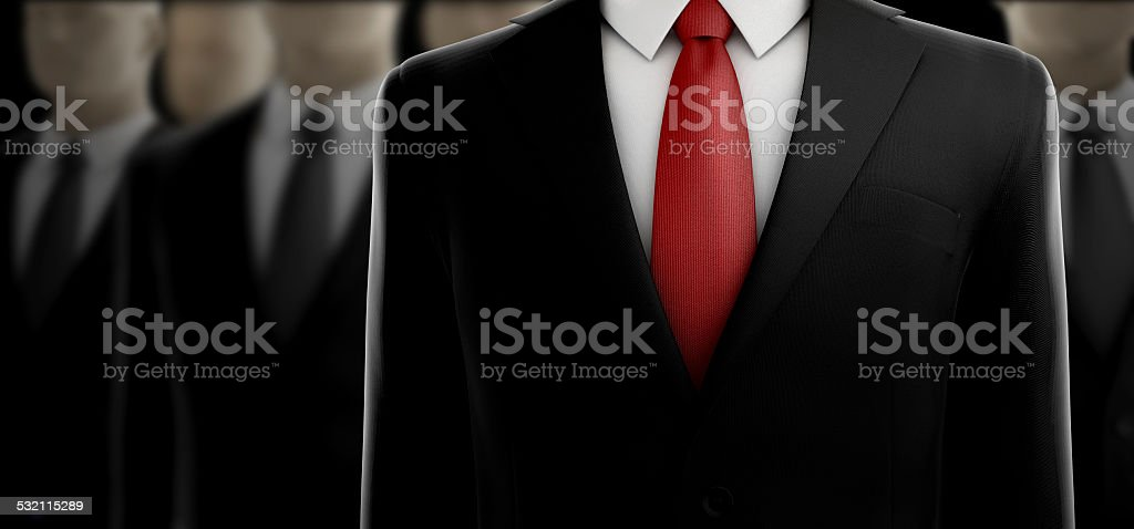 Elegant Black Businessman Suit with red tie stock photo