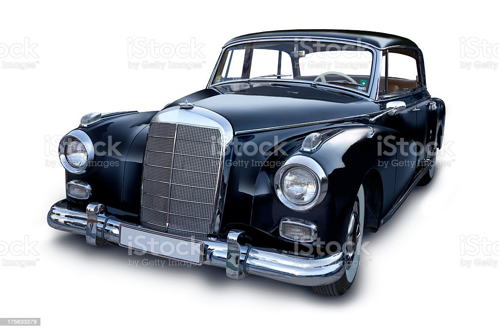 Elegant black retro car on white background stock photo