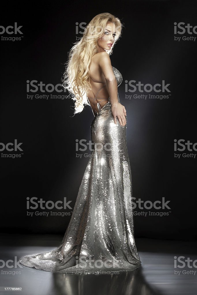 Elegant blonde lady posing in silver long evening dress. stock photo