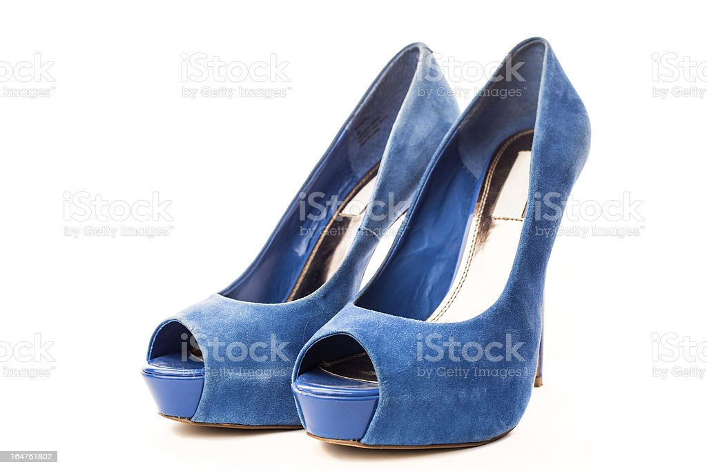Elegant blue suede high heels stock photo