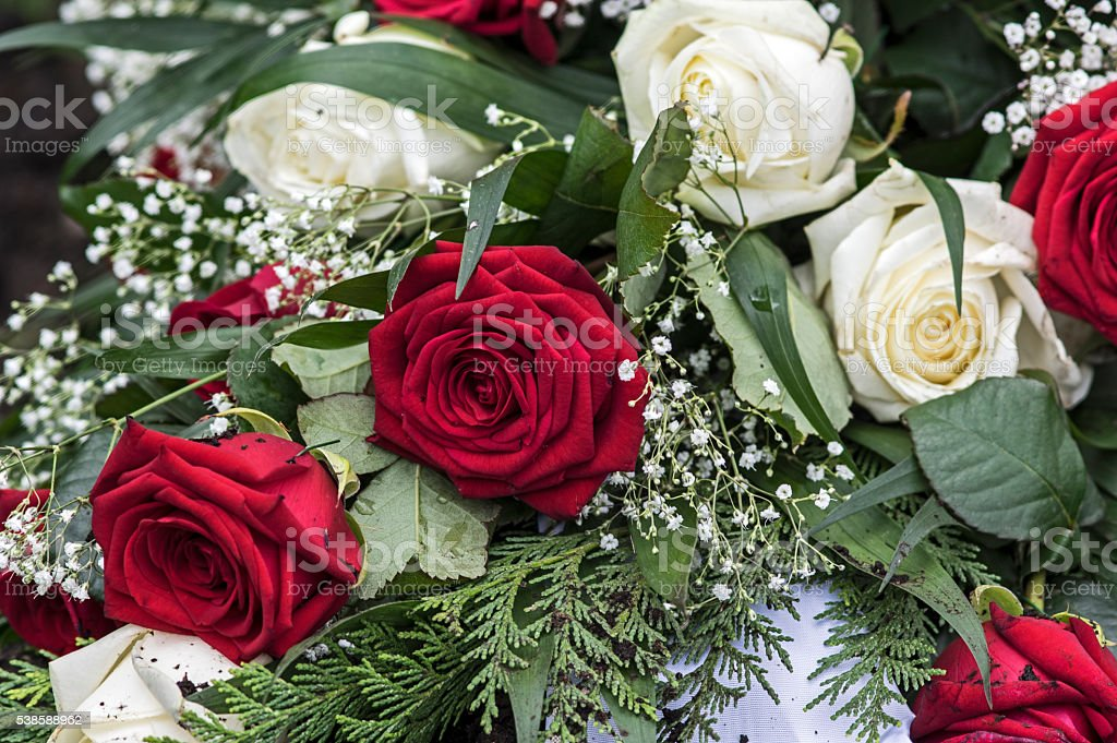 Elegant bouquet with roses stock photo