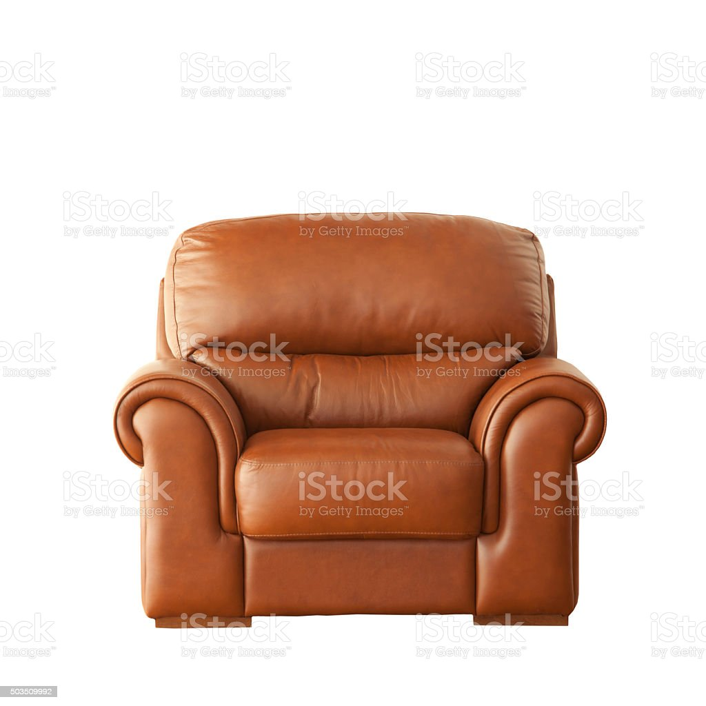 Elegant brown leather armchair isolated on white background stock photo