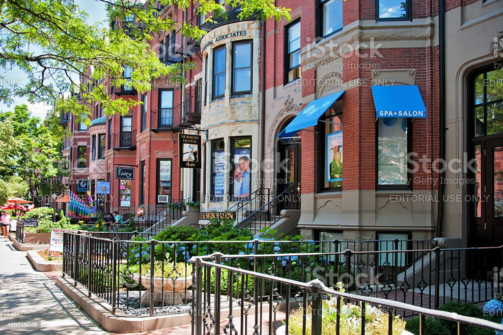 Elegant Brownstones in a Busy Residential Street of Boston stock photo