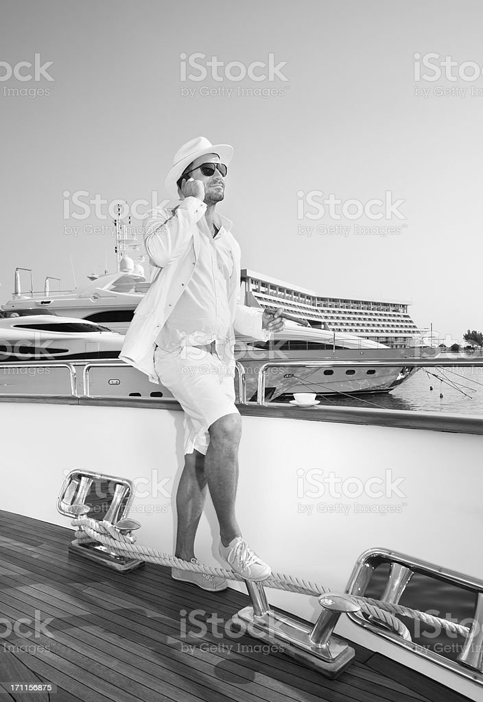Elegant Business on board of the yacht stock photo