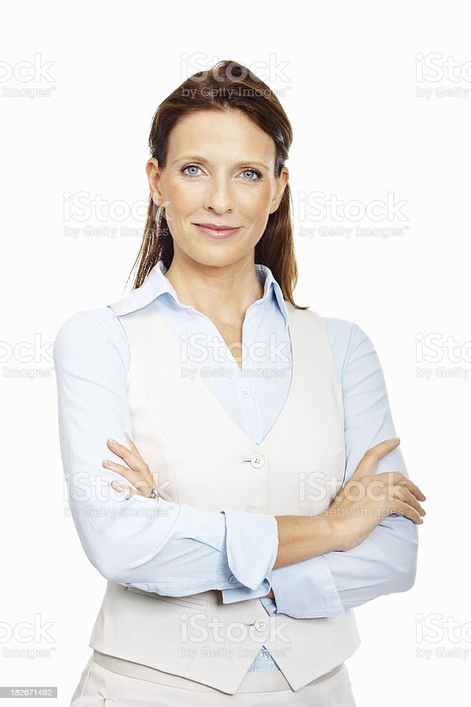 Elegant business woman standing confidently against white stock photo