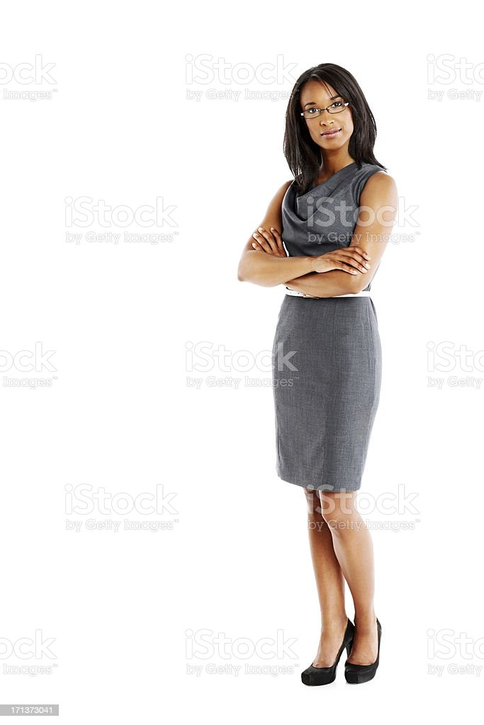 Elegant businesswoman with arms crossed stock photo