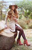 Elegant caucasian woman in fedora hat and coat