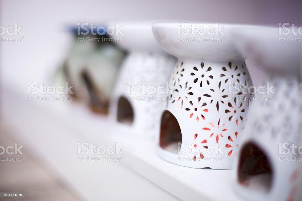 elegant ceramic ware in yoga room stock photo