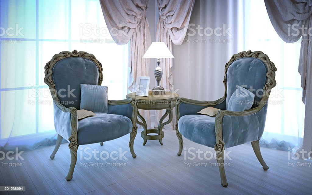 Elegant chairs in antique style stock photo