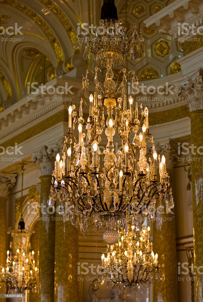 Elegant chandelier, Royal Castle in Warsaw, Poland royalty-free stock photo