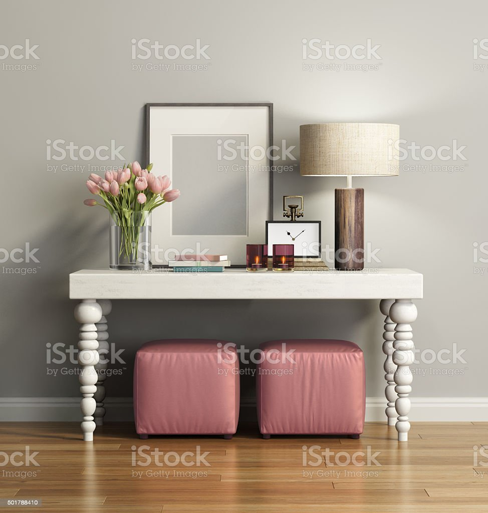 Elegant chic brown console table with stools stock photo