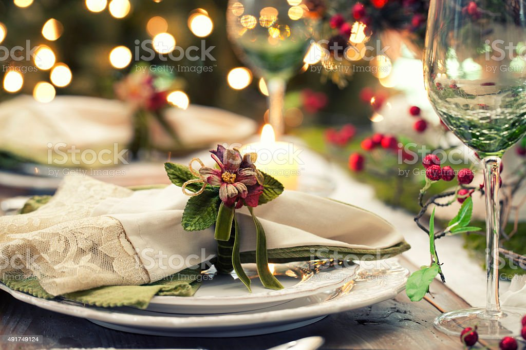 Elegant Christmas Dining Table stock photo
