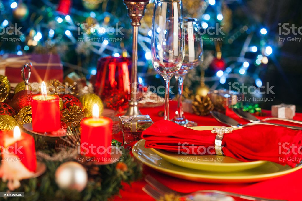 Elegant Christmas table setting stock photo