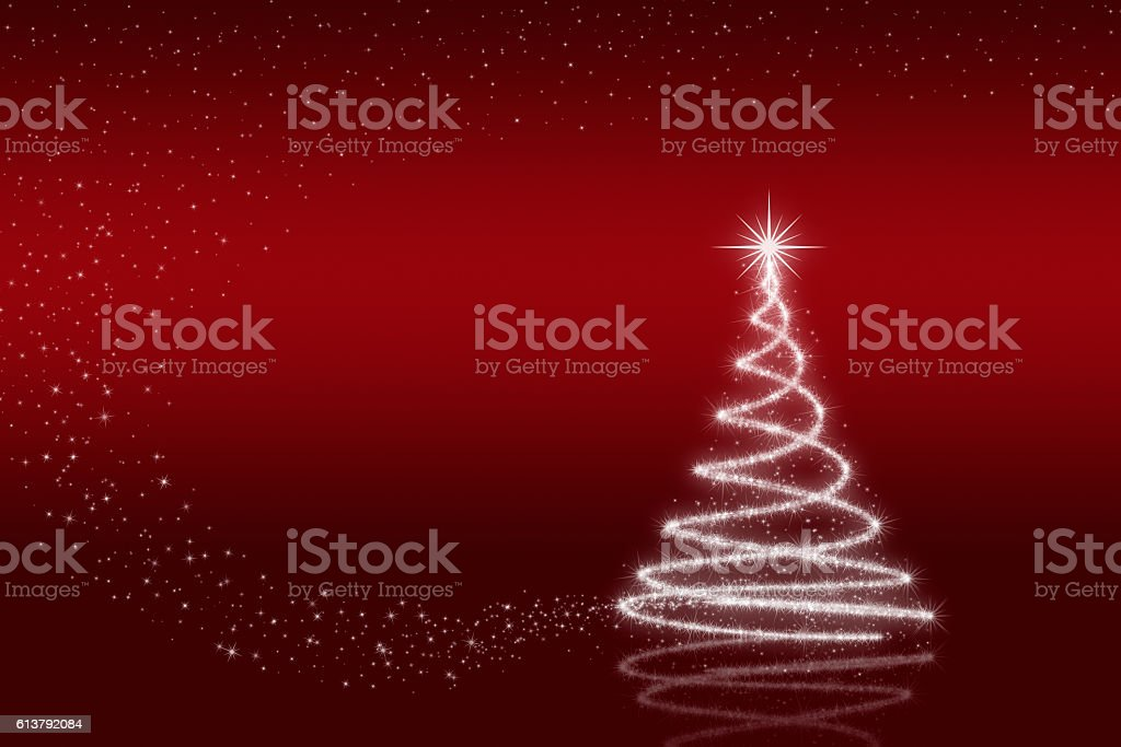 Elegant christmas tree with stars stock photo