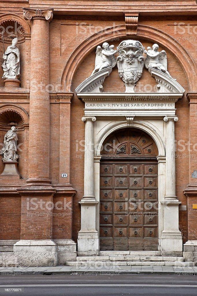 Elegant Church with Bricks and Stone, Italian Architecture in Ferrara stock photo