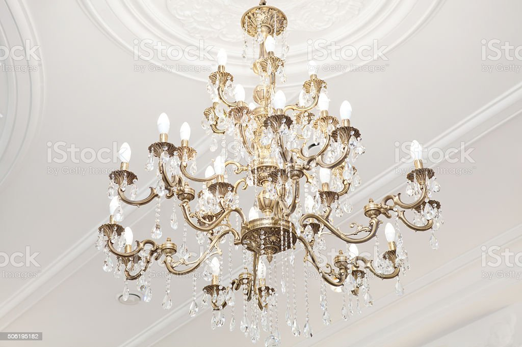 Elegant classic chandelier stock photo