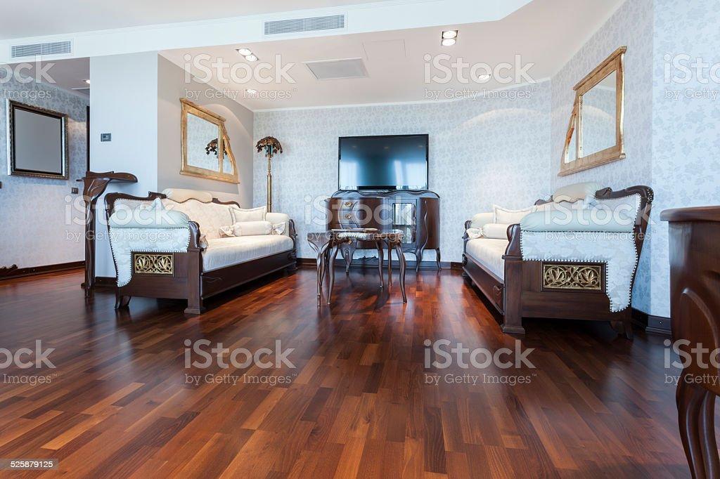 Elegant classic style living room interior stock photo