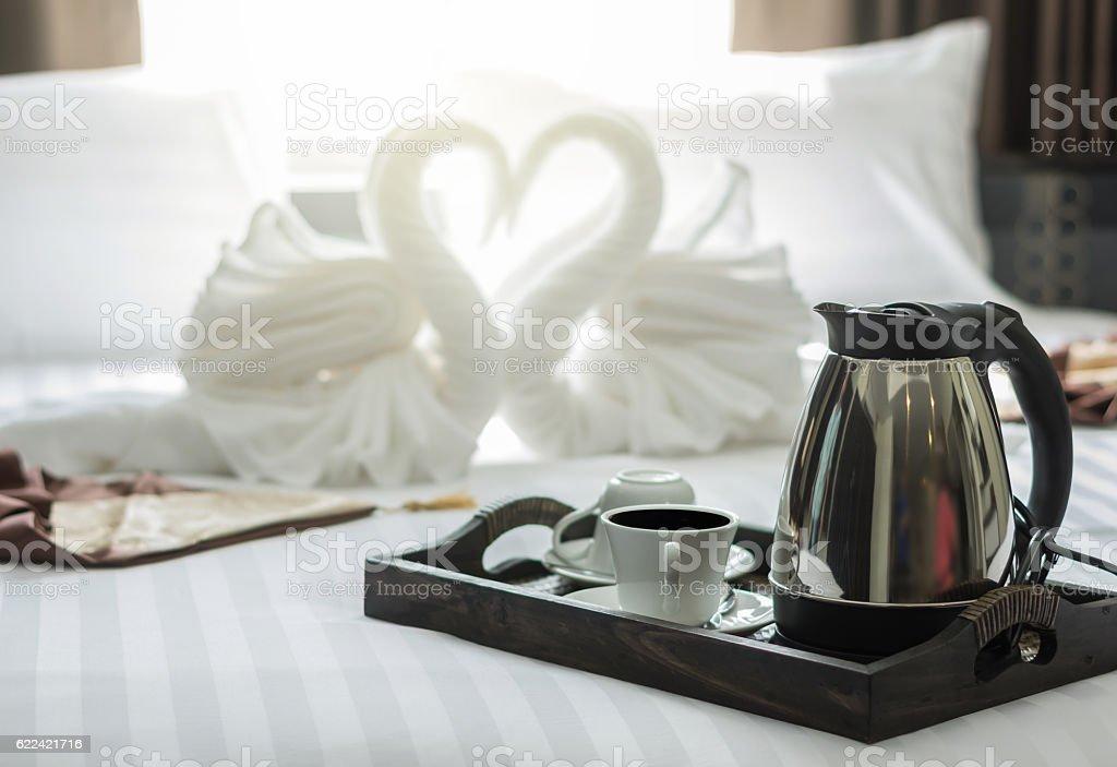 elegant coffee cup set on wooden trey in modern bedroom stock photo