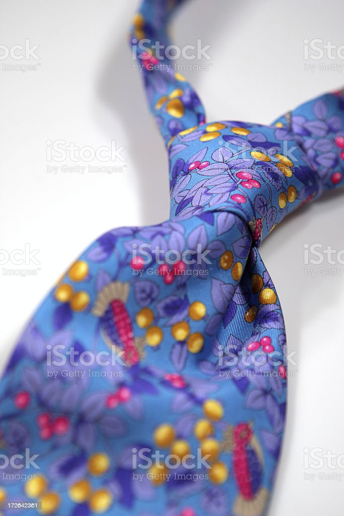 Elegant colored tie with knot stock photo