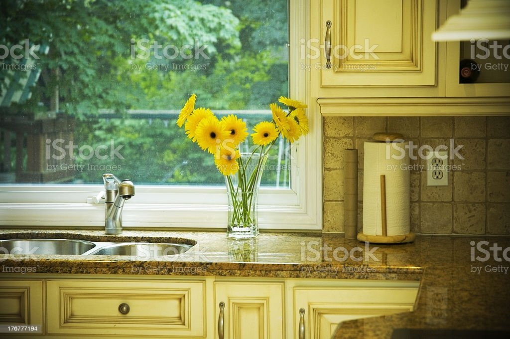 Elegant Country Kitchen Window and Sink royalty-free stock photo