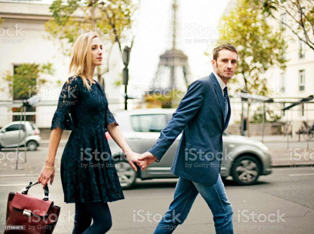Elegant couple in Paris stock photo