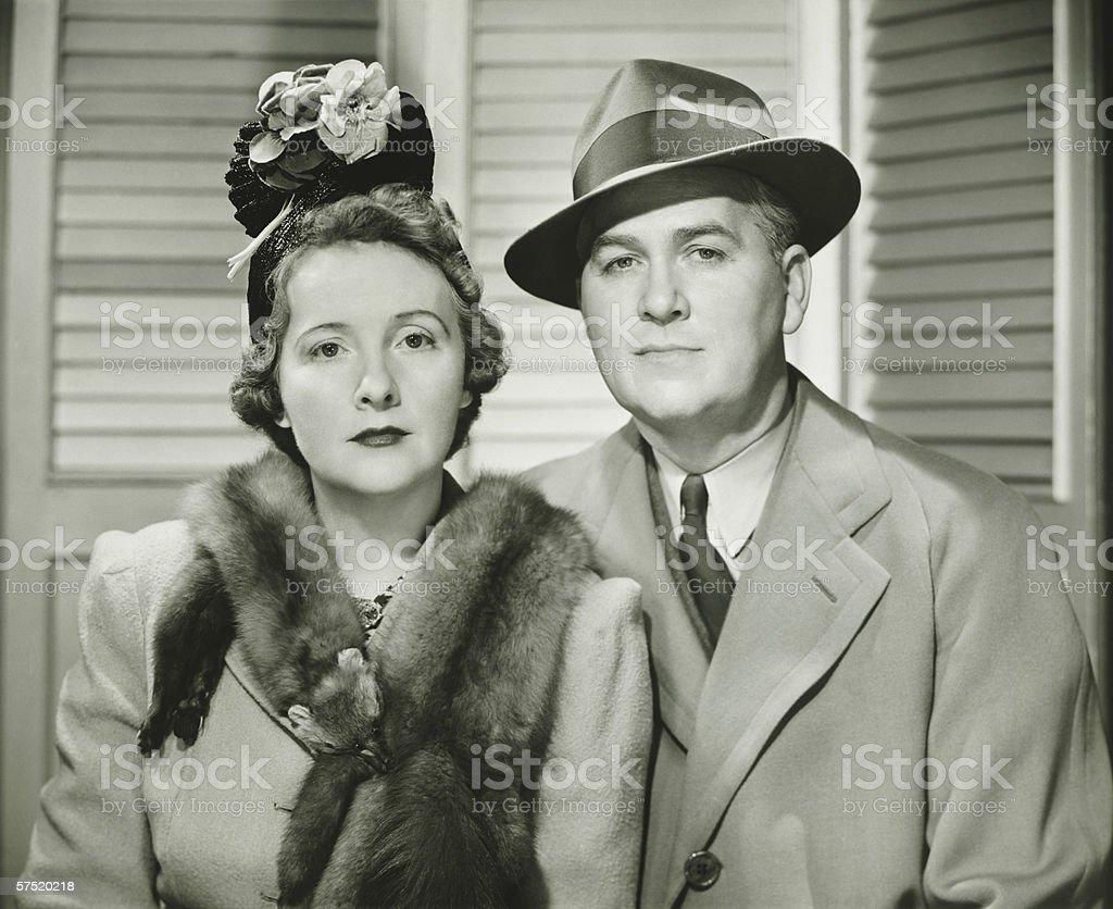Elegant couple posing, (B&W), portrait stock photo