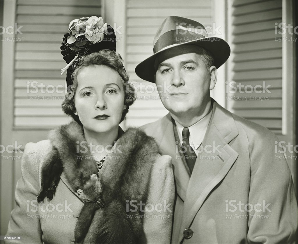 Elegant couple posing, (B&W), portrait stock photo