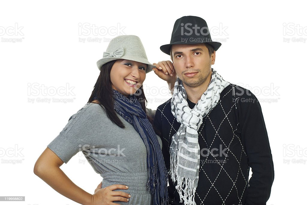 Elegant couple  with hats stock photo