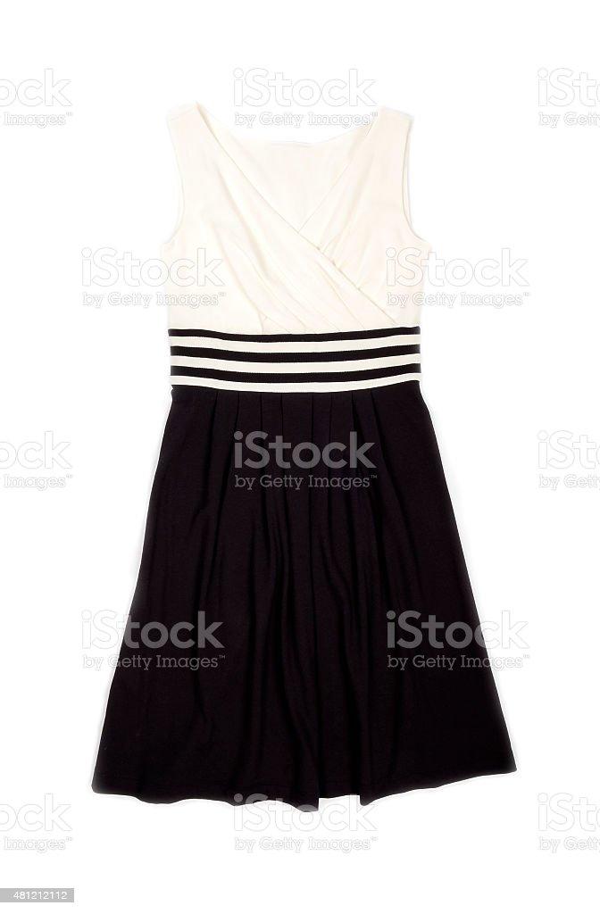 Elegant Cream and Black Sleeveless Dress stock photo