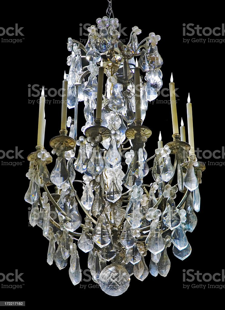 Elegant Crystal Chandelier on Black royalty-free stock photo