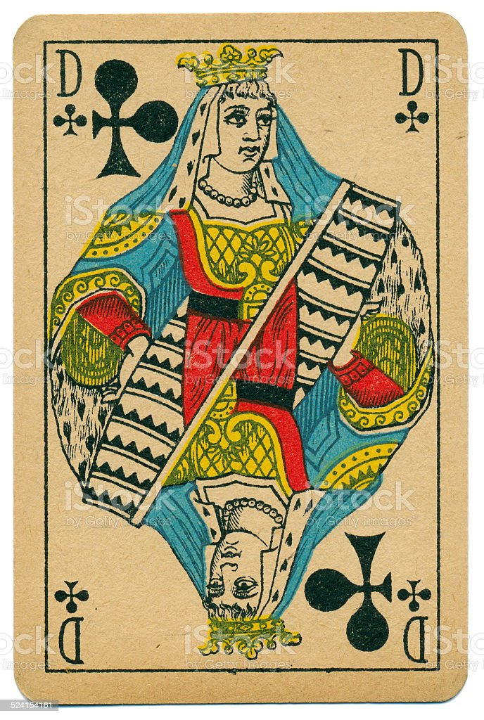 Elegant Dame Queen of Clubs Biermans playing card Belgium 1910 stock photo