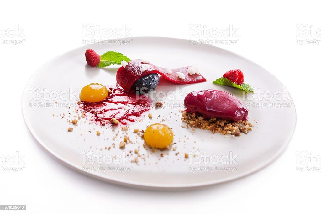 elegant dessert, icecream stock photo