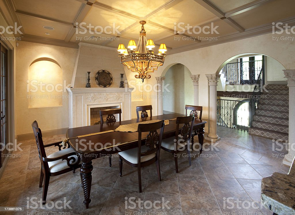 Elegant Dining Room in Estate Home Wide Angle royalty-free stock photo