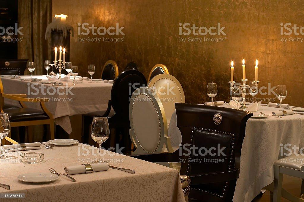 Elegant dining room place settings stock photo