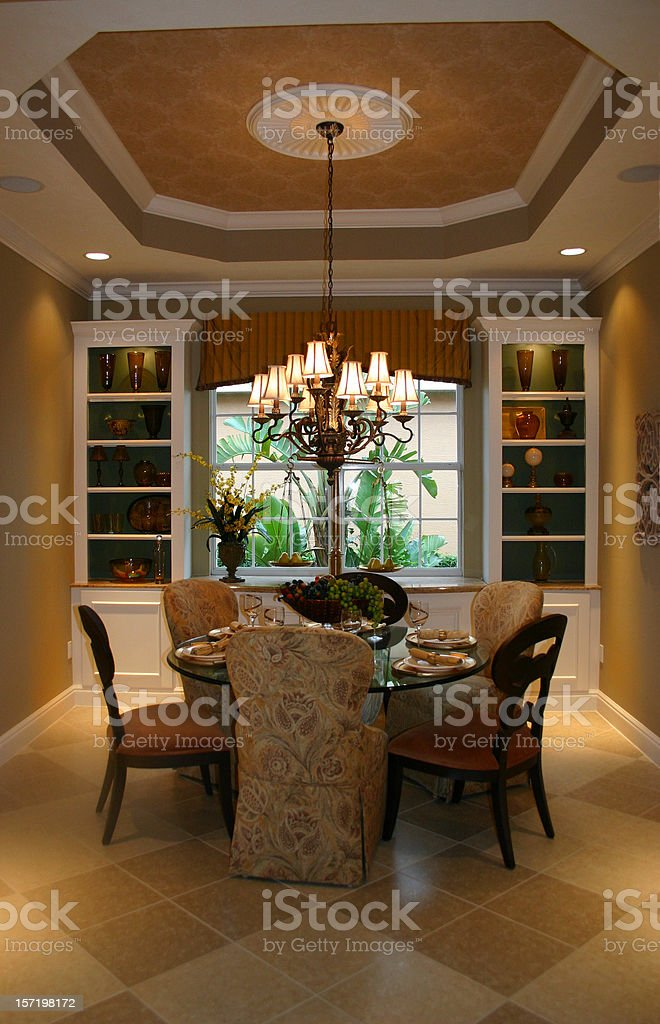 Elegant Dining Room with Garden View royalty-free stock photo