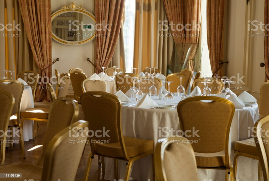 elegant dining table in a lux restaurant. royalty-free stock photo