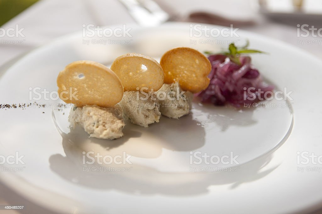 Elegant dish with baccal? Vicenza Style stock photo