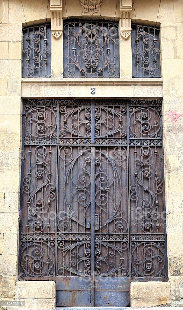 elegant door-donostia-spain stock photo
