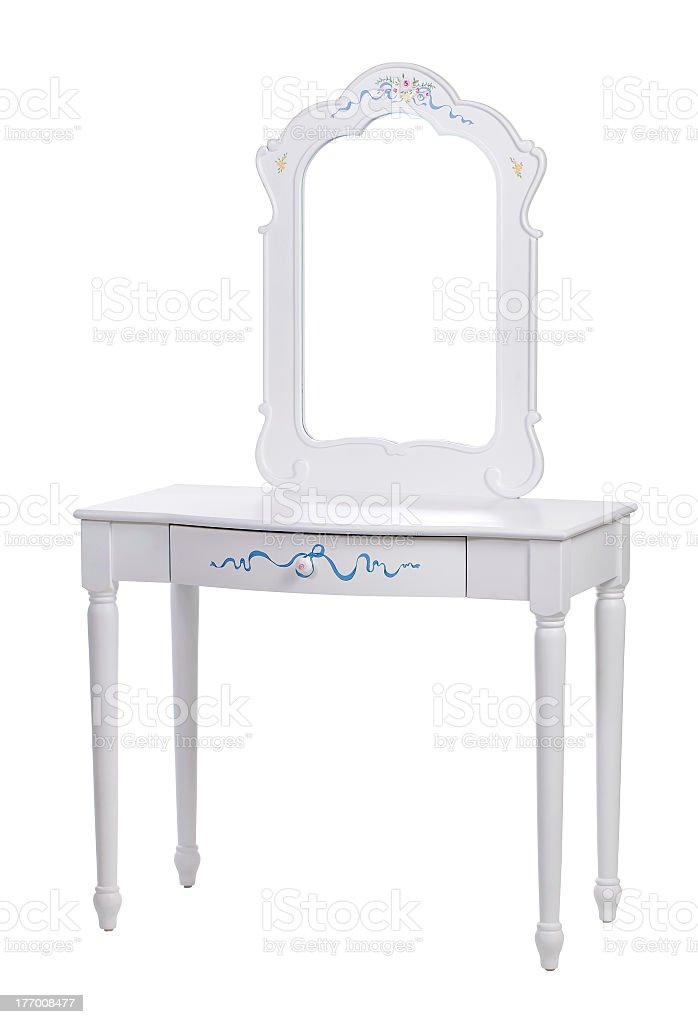 Elegant dressing table isolated over white with mirror stock photo