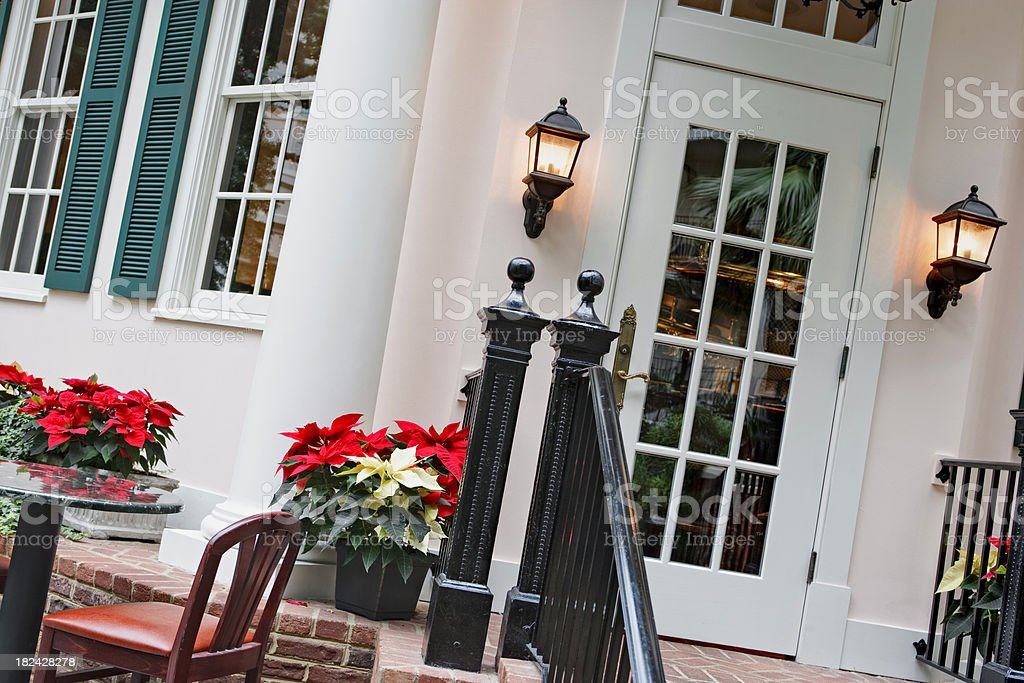 Elegant entrance to a resort restaurant royalty-free stock photo