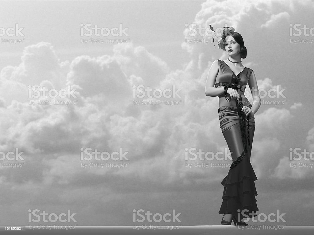 Elegant Fashion Model in a Classic Film Noir Style. stock photo