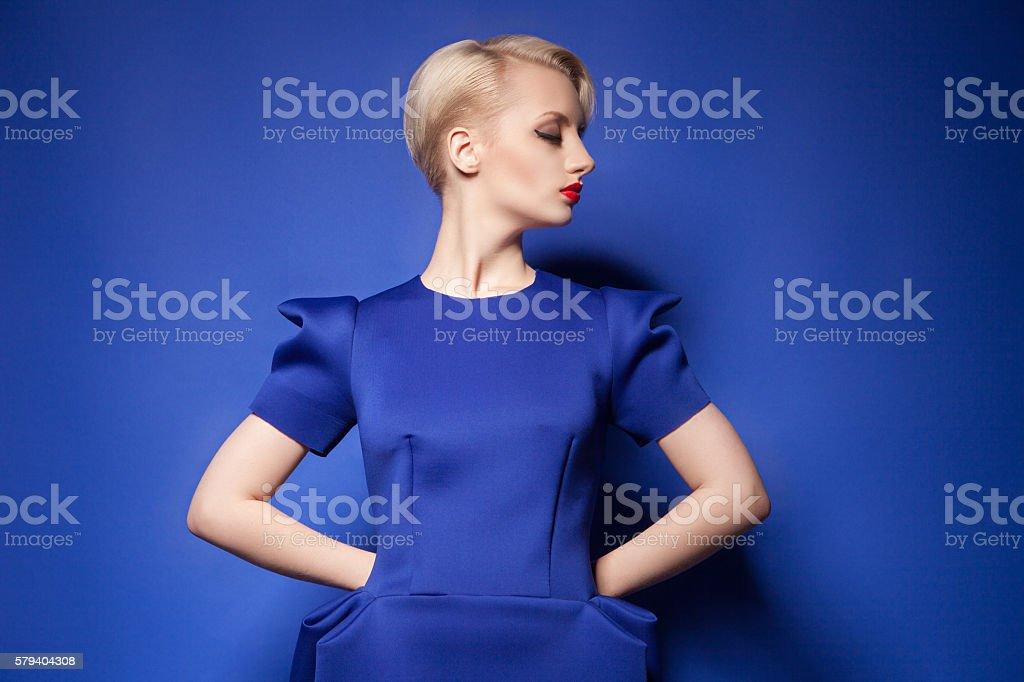 Elegant fashion model with short blonde hair stock photo