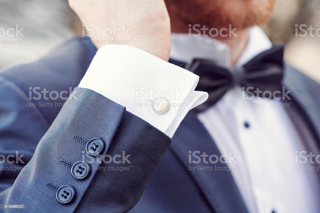 elegant fashionable cufflink stock photo