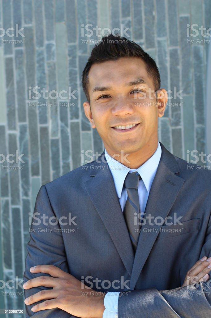 Elegant Filipino Businessman Outside Office stock photo