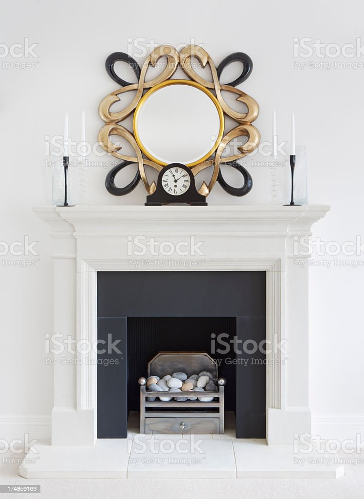 elegant fire place royalty-free stock photo