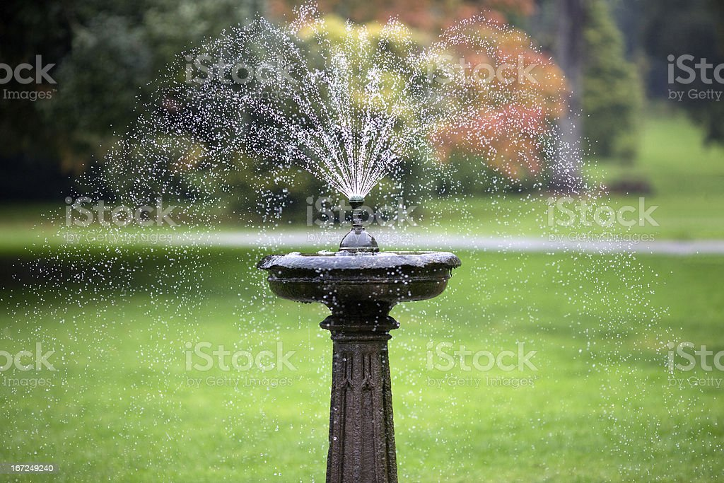 Elegant fountain in formal Irish garden royalty-free stock photo