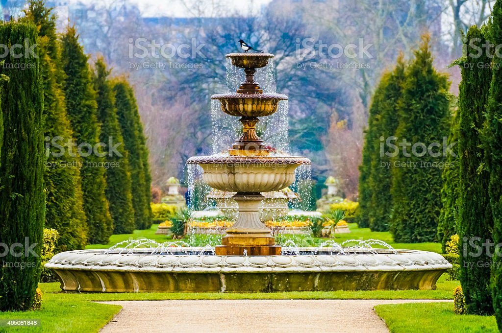 Elegant Fountain With Dripping Water in Regent's Park, London stock photo