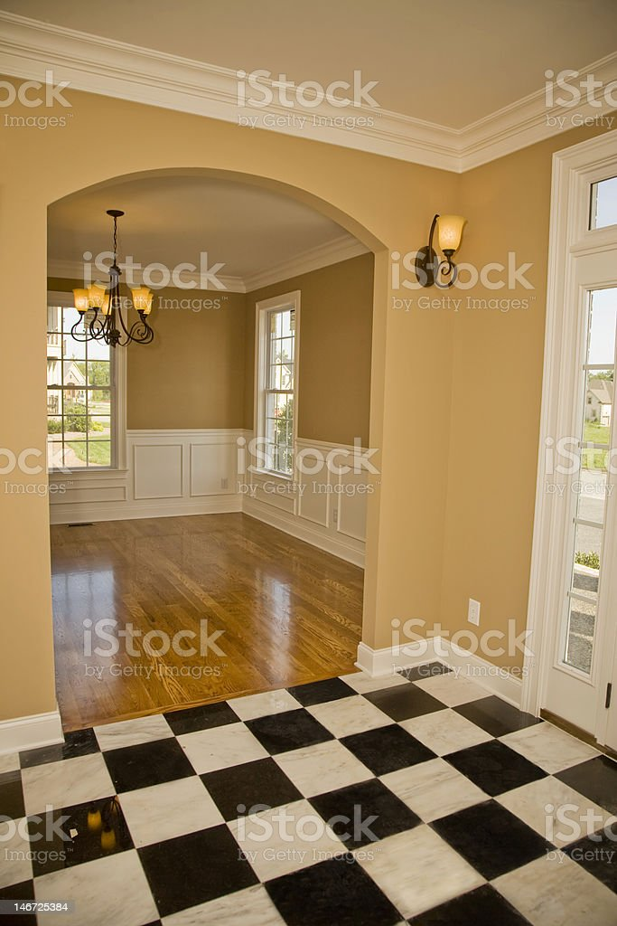 Elegant Foyer of a Single Family Home royalty-free stock photo