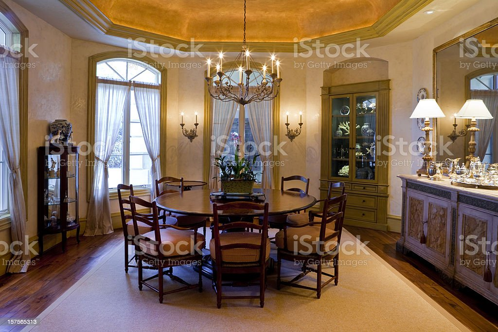 Elegant French Style Dining Room in Estate Home royalty-free stock photo