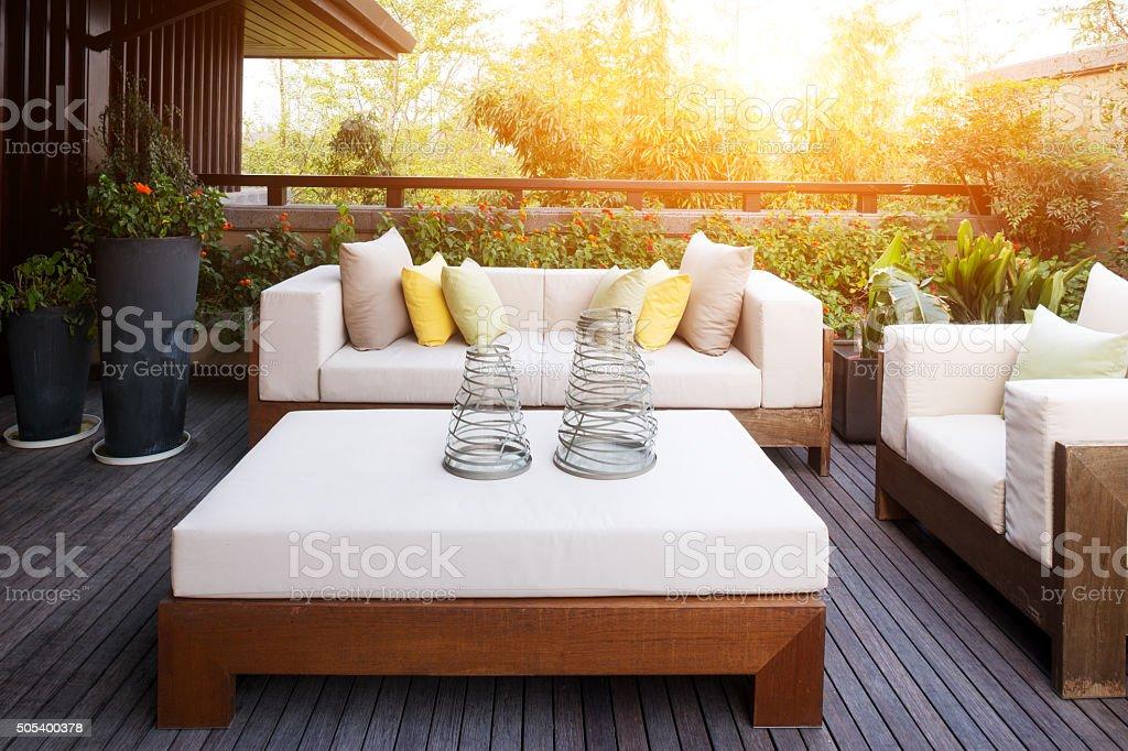 elegant furniture and design in modern patio stock photo